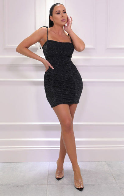 Black Glitter Tie Strap Ruched Bodycon Mini Dress - Rose