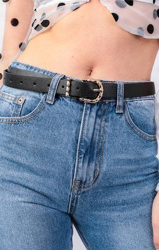 Black Gold Bamboo Buckle Belt - Winifred