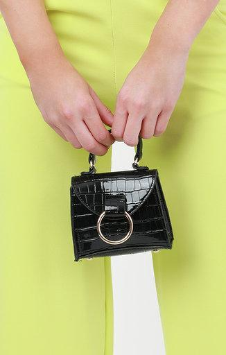 Black & Gold Hoop Micro Mini Bag - Claire