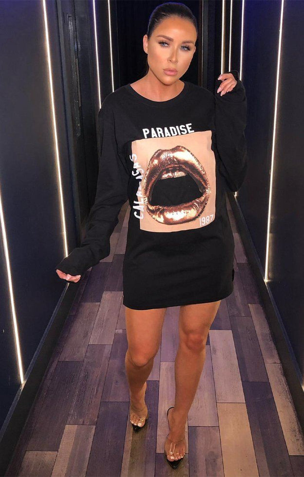 706a97aaa91 Black Gold Lip Print T-Shirt Dress - Remi