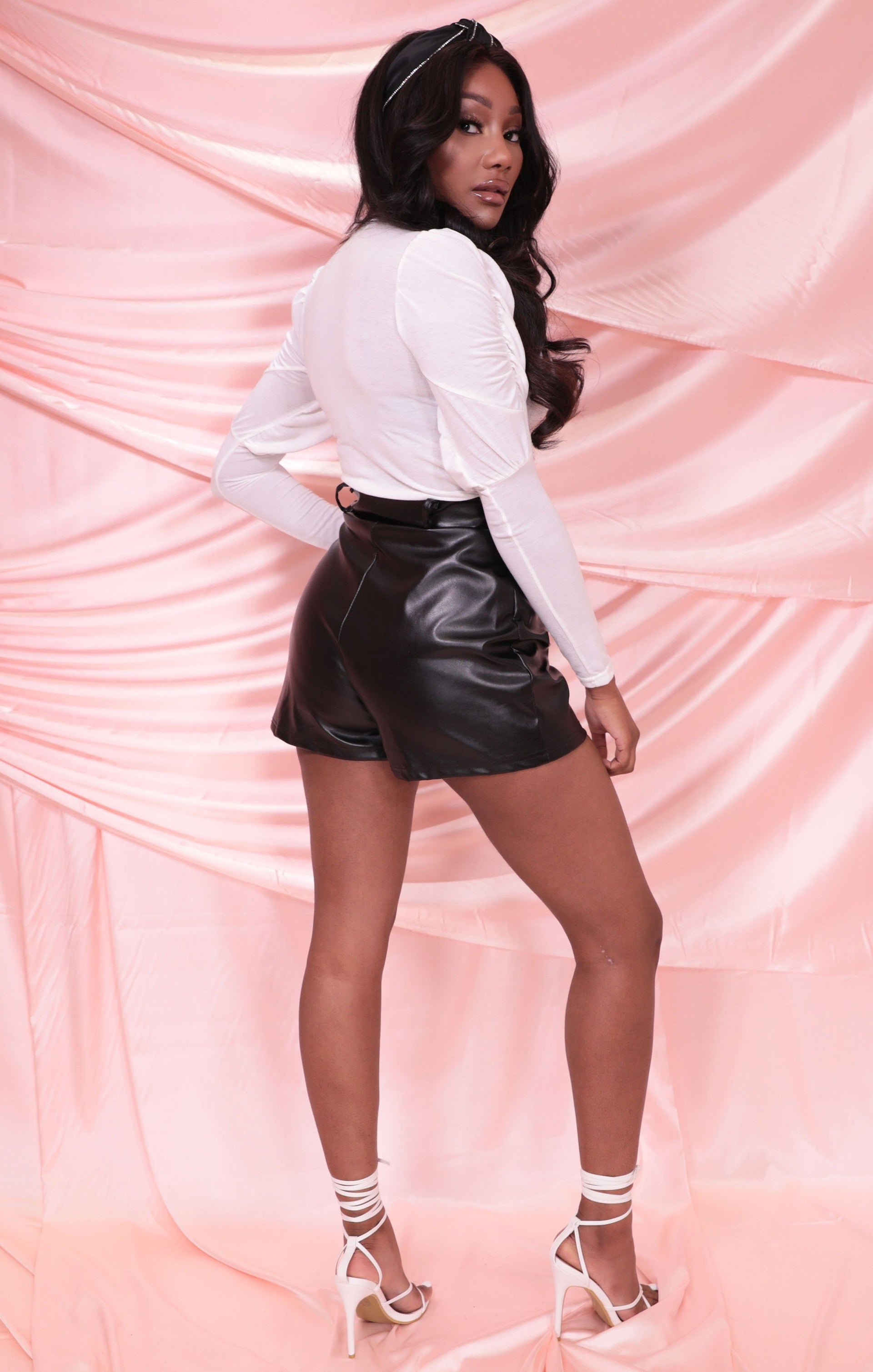 Black High Waisted Faux Leather Shorts - Minnie