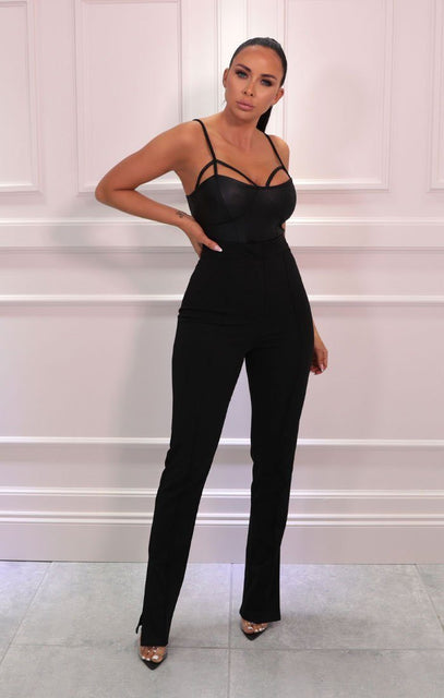 Black High Waisted Side Split Trousers - Iggy