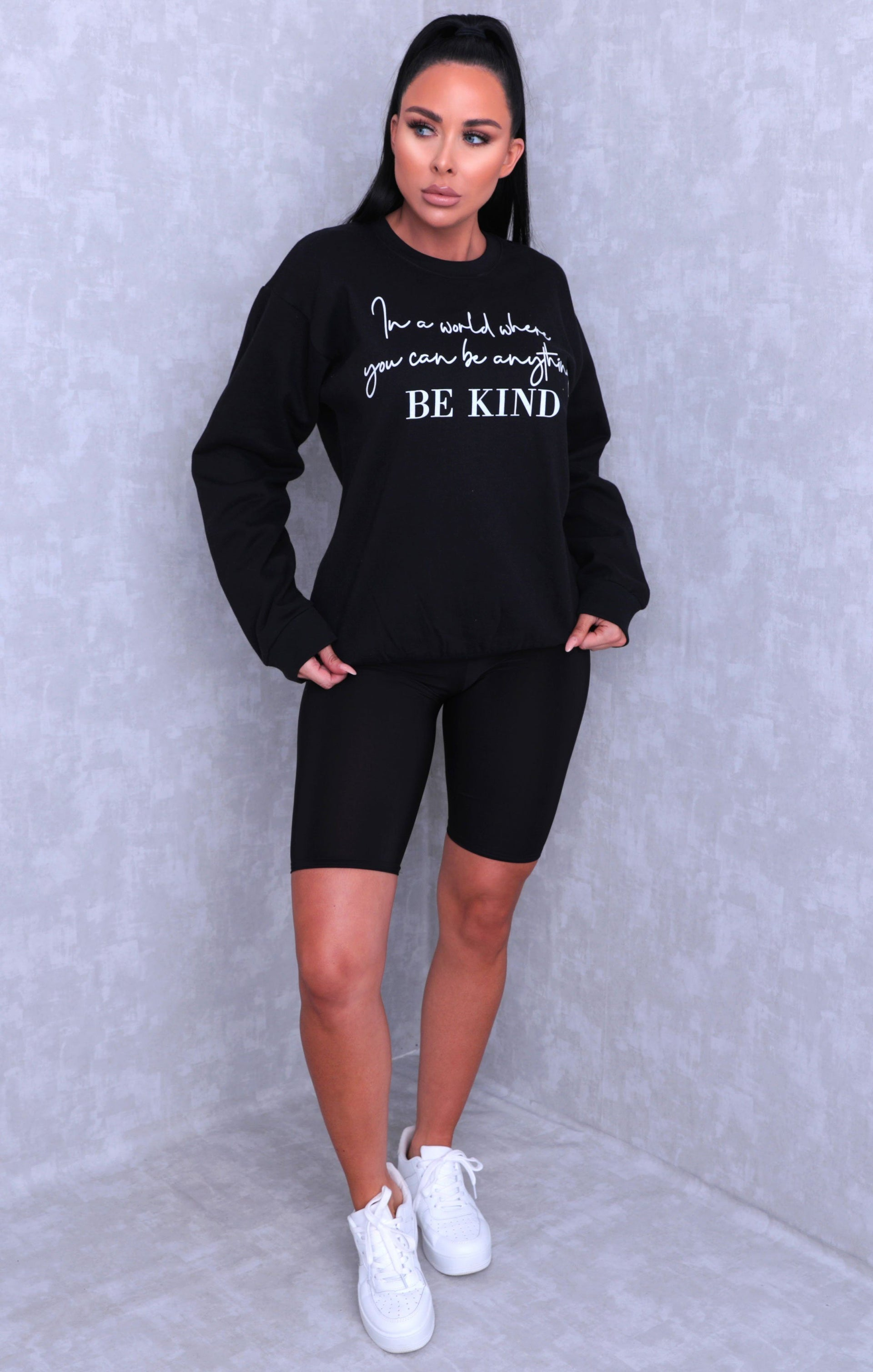 Black 'In A World Where You Can Be Anything Be Kind' Slogan Sweatshirt - Rosina