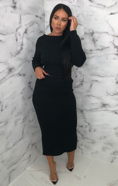 Black Knitted Crop Top Maxi Skirt Co-ord - Voss