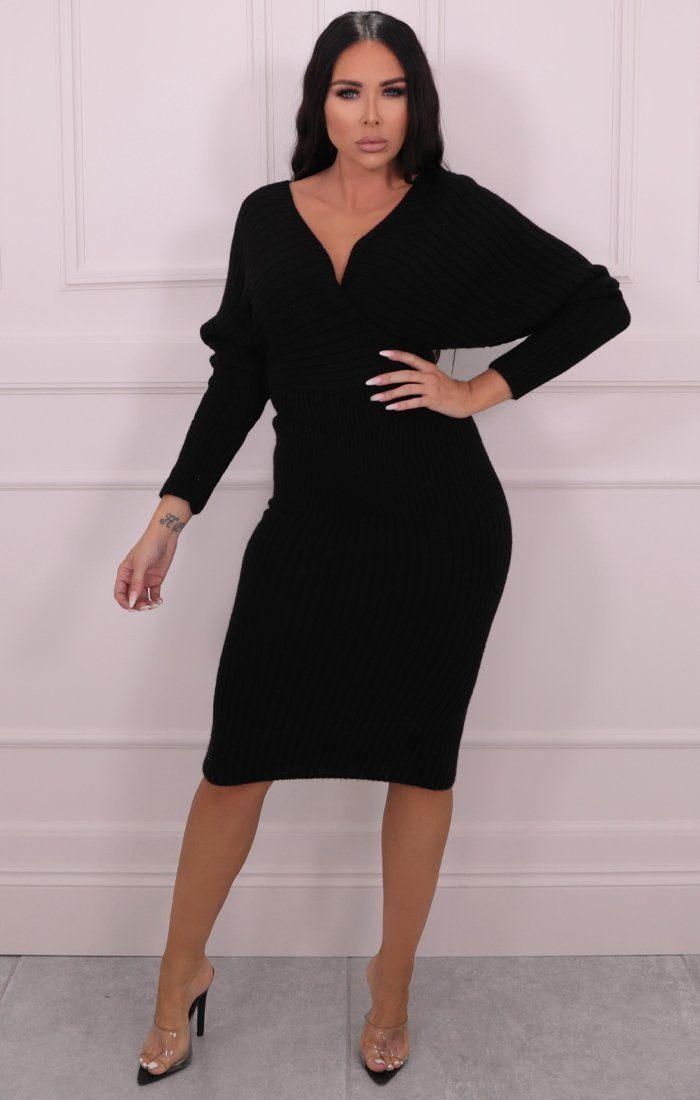 Black Knitted Cross Over Midi Jumper Dress - Sascha