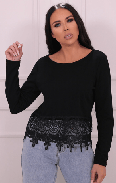 Black Lace Trim Long Sleeve Top - Carisse