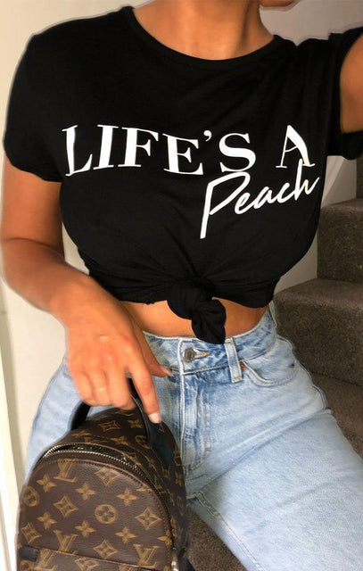 Black 'Life's a Peach' Slogan Crop Top - Tinley