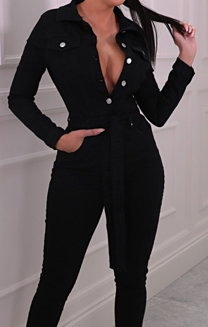 Black Long Sleeve Belted Button Up Denim Jumpsuit - Kaz