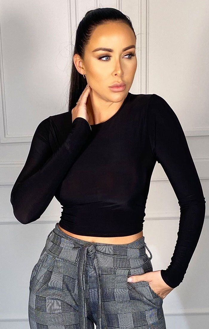 Black Long Sleeve Crew Neck Crop Top - Scarlett