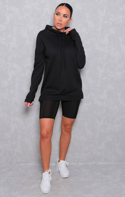 Black Long Sleeve Side Split Drop Hem Hoodie - Upton