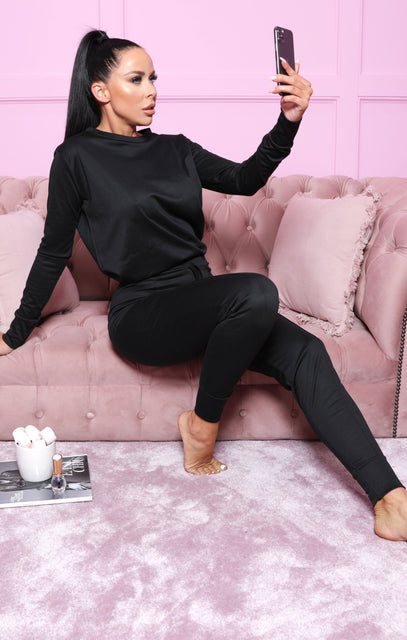 Black Long Sleeve Top Joggers Loungewear Set - Destiny