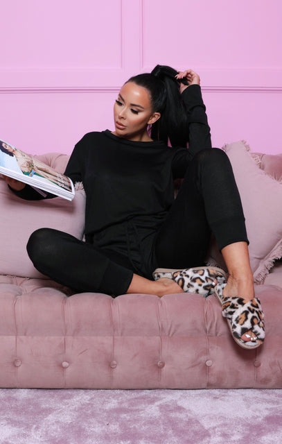Black Loungewear Tracksuit Set-Maria