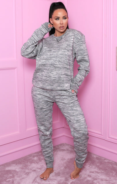 Black Marl Crew Neck Loungewear Set - Danica