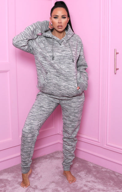 Black Marl Pull Over Hoodie Loungewear Set - Jessa