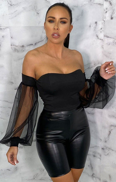Black Mesh Organza Sleeve Bardot Crop Top - Ivana