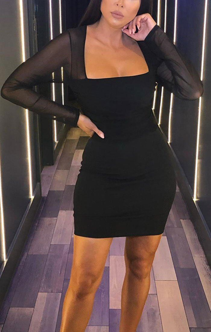 Black Mesh Overlay Long Sleeve Dress - Mensa