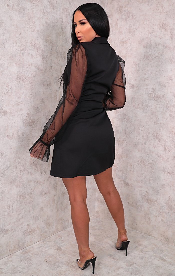 Black Mesh Sleeve Mini Blazer Dress - Sabah