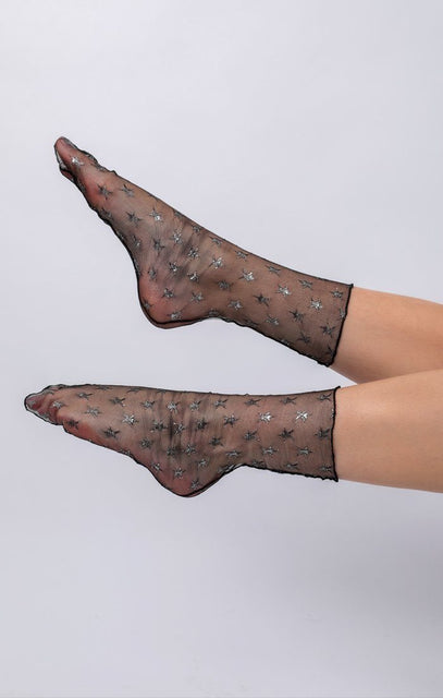 Black Mesh Star Print Socks - Mira
