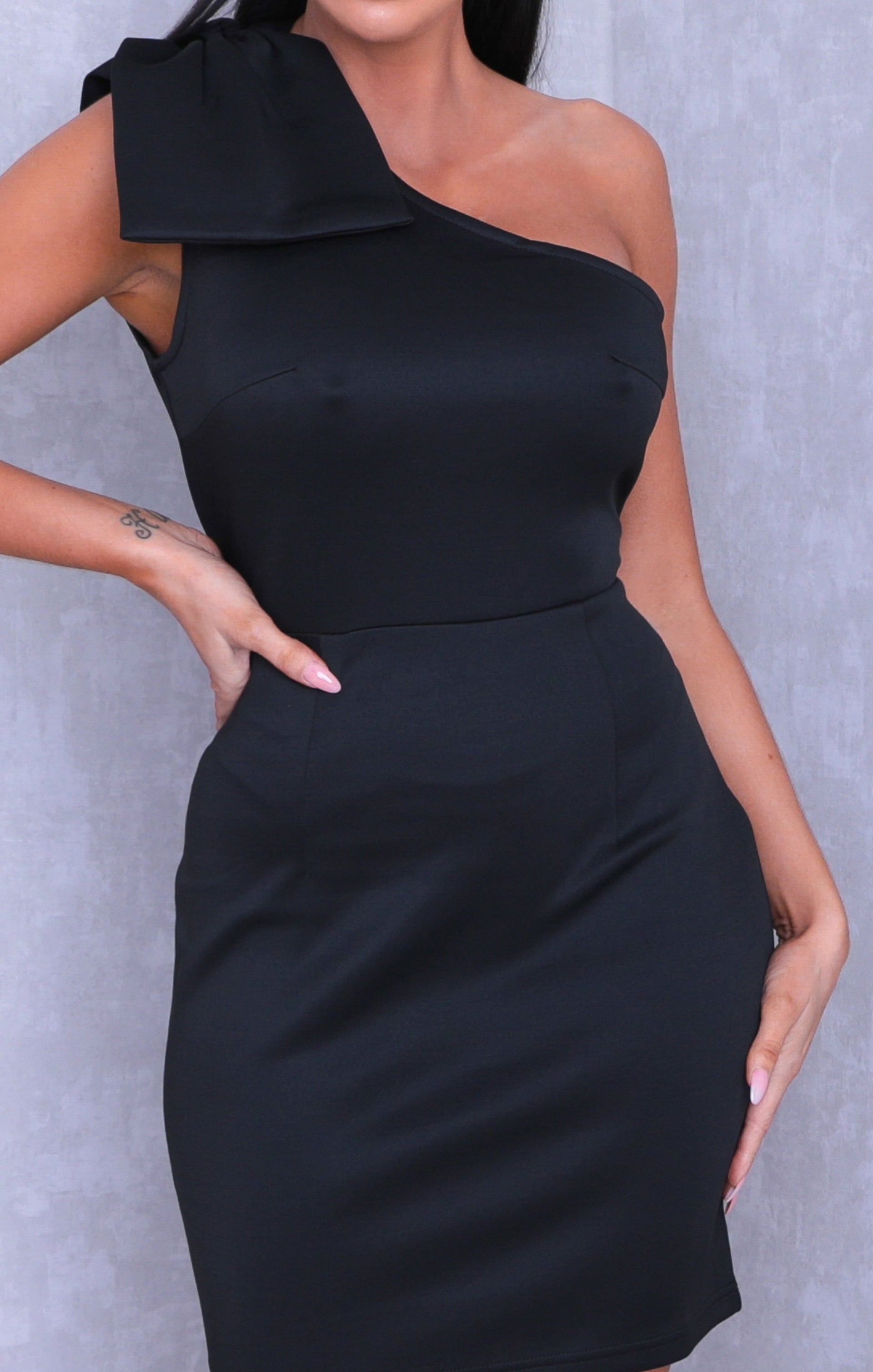Black One Shoulder Bow Bodycon Mini Dress - Abel