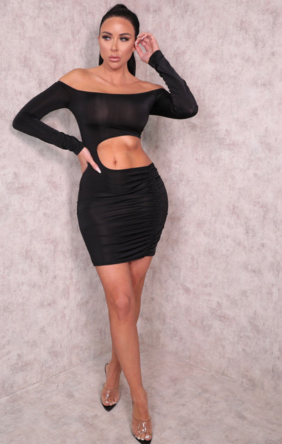 Black One Shoulder Cut Out Ruched Side Bodycon Mini Dress - Charlie