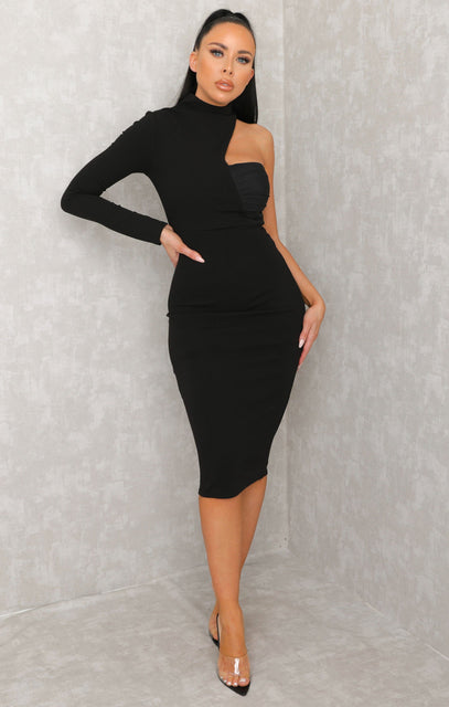Black One Shoulder High Neck Bodycon Midi Dress - Sabrina