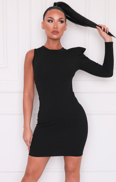 Black One Shoulder Padded Bodycon Mini Dress - Unice