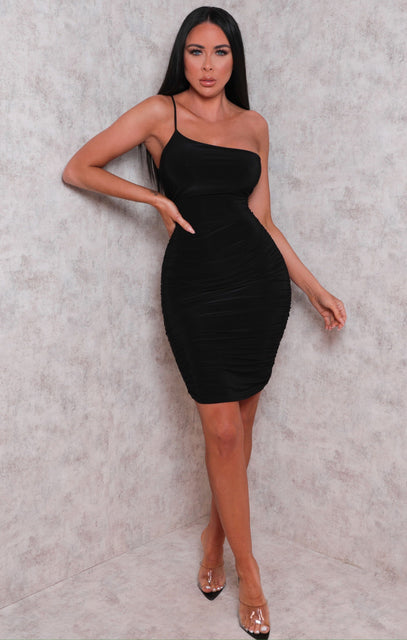 Black One Shoulder Ruched Slinky Bodycon Mini Dress - Daisy