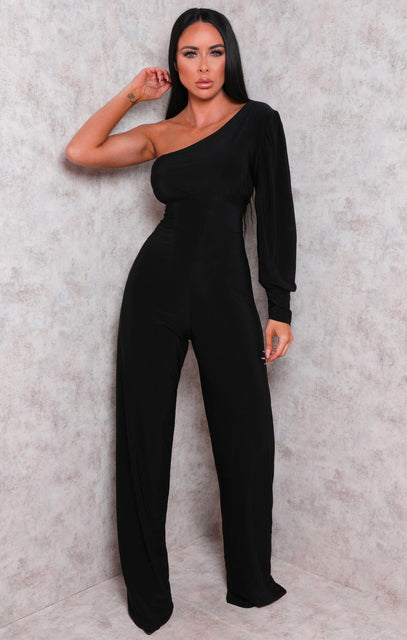 Black One Shoulder Straight Leg Slinky Jumpsuit - Poppy