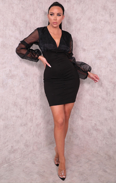 Black Organza Mesh Sleeve Button Up Bodycon Mini Dress - Mariah