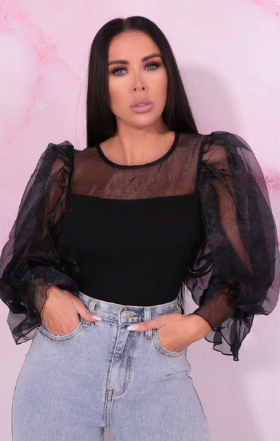 Black Organza Puff Sleeve Ribbed Top - Callahan