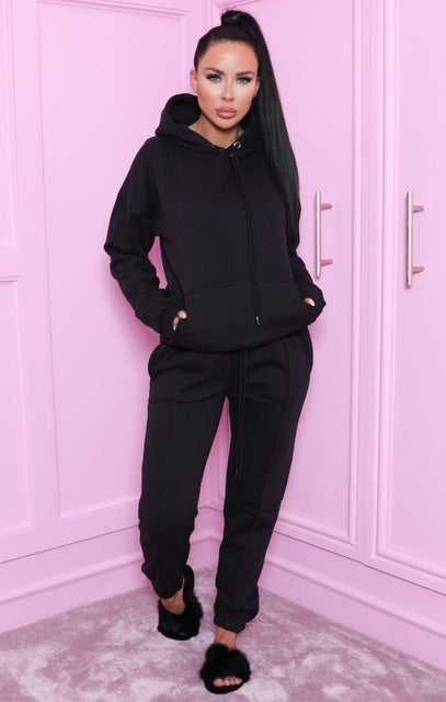 Black Oversized Hoodie & Joggers Loungewear Set - Snipe