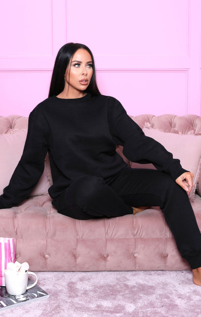 Black Oversized Sweatshirt Joggers Loungewear Set - Christina FL233