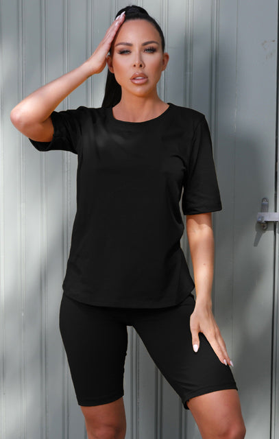 Black Oversized T-Shirt Cycling Shorts Co-ord - Laura