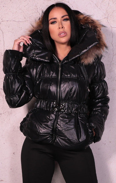Black Padded Belted Puffer Faux Fur Jacket - Tegan