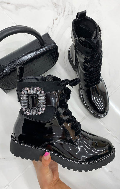 Black Patent Gemstone Chunky Ankle Boots - Penny