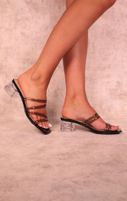 Black Perspex Low Block Heel Strappy Mules - Lucy