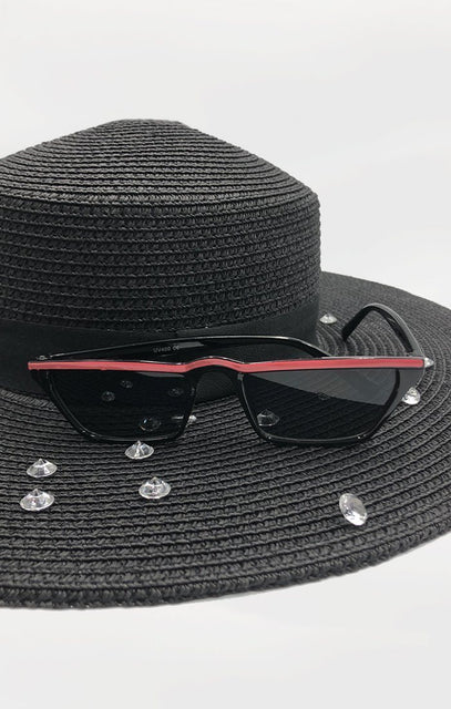 Black & Pink Stripe Retro Sunglasses - Gabby
