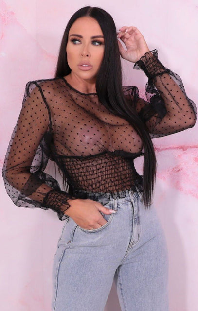 Black Polka Dot Mesh Shrilled Top - Shannie