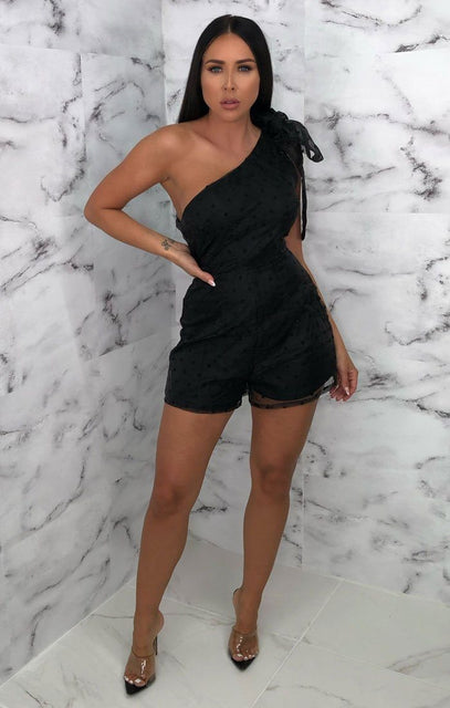 Black Polka Dot One Shoulder Mesh Overlay Playsuit - Araylia