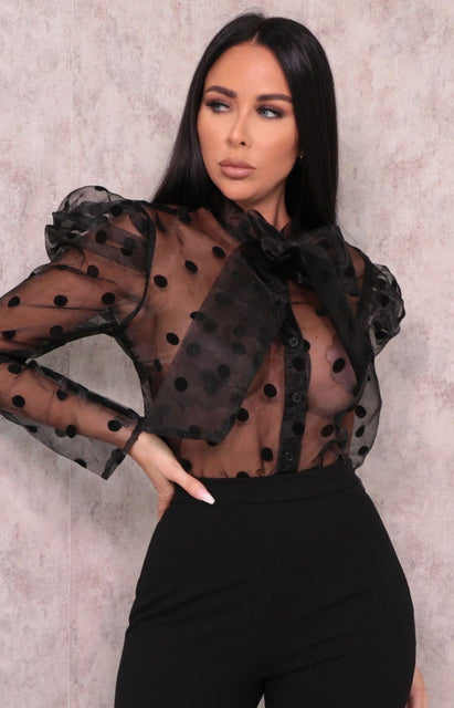 Black Polka Dot Organza Mesh Top - Bonita