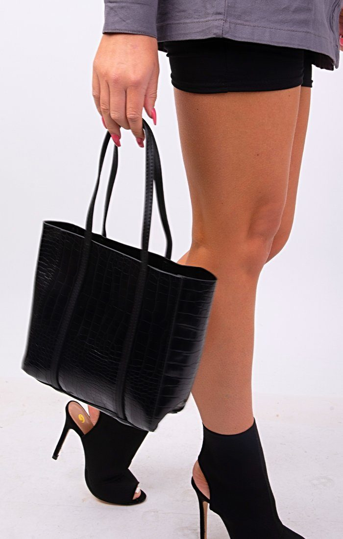 Black PU Croc Mini Tote Bag - Cassandra