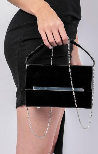 Black PU Square Box Grab Bag - Vivien