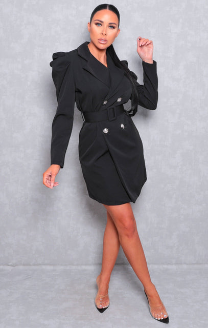 Black Puff Shoulder Double Breasted Blazer Dress - Arlo