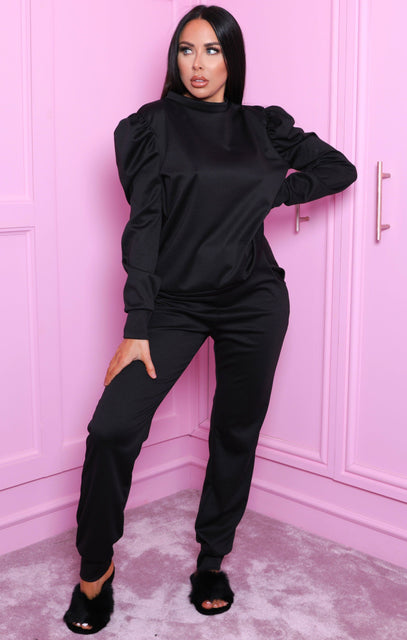 Black Puff Shoulder Long Sleeve Loungewear Set - Adilynn