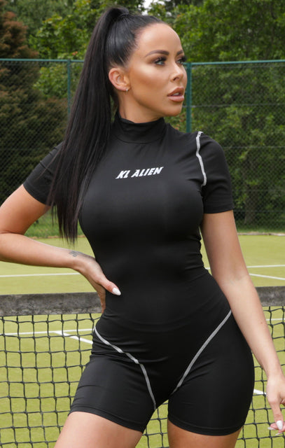 Black Reflective Slogan Activewear Playsuit - Emory