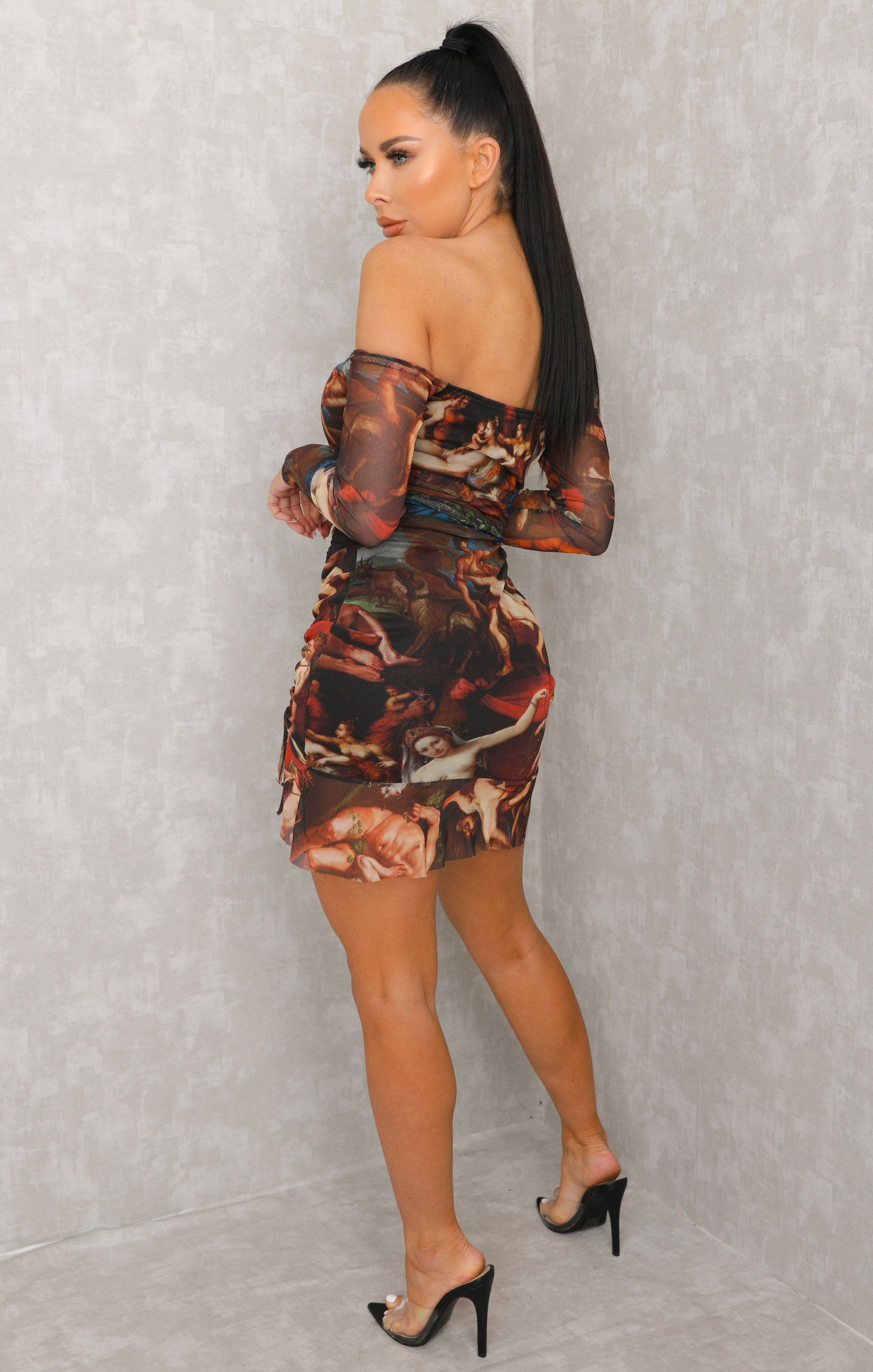 Black Renaissance Print Bardot Ruched Mini Dress - Maura
