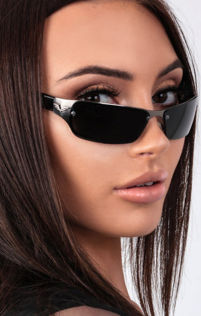 Black Retro Slim Lens Sunglasses - Selah