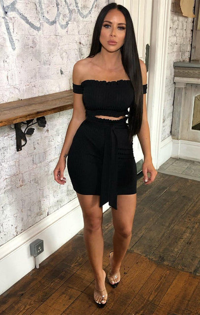 Black Ribbed Bardot Frill Crop Top & Skirt Co-ord - Lida