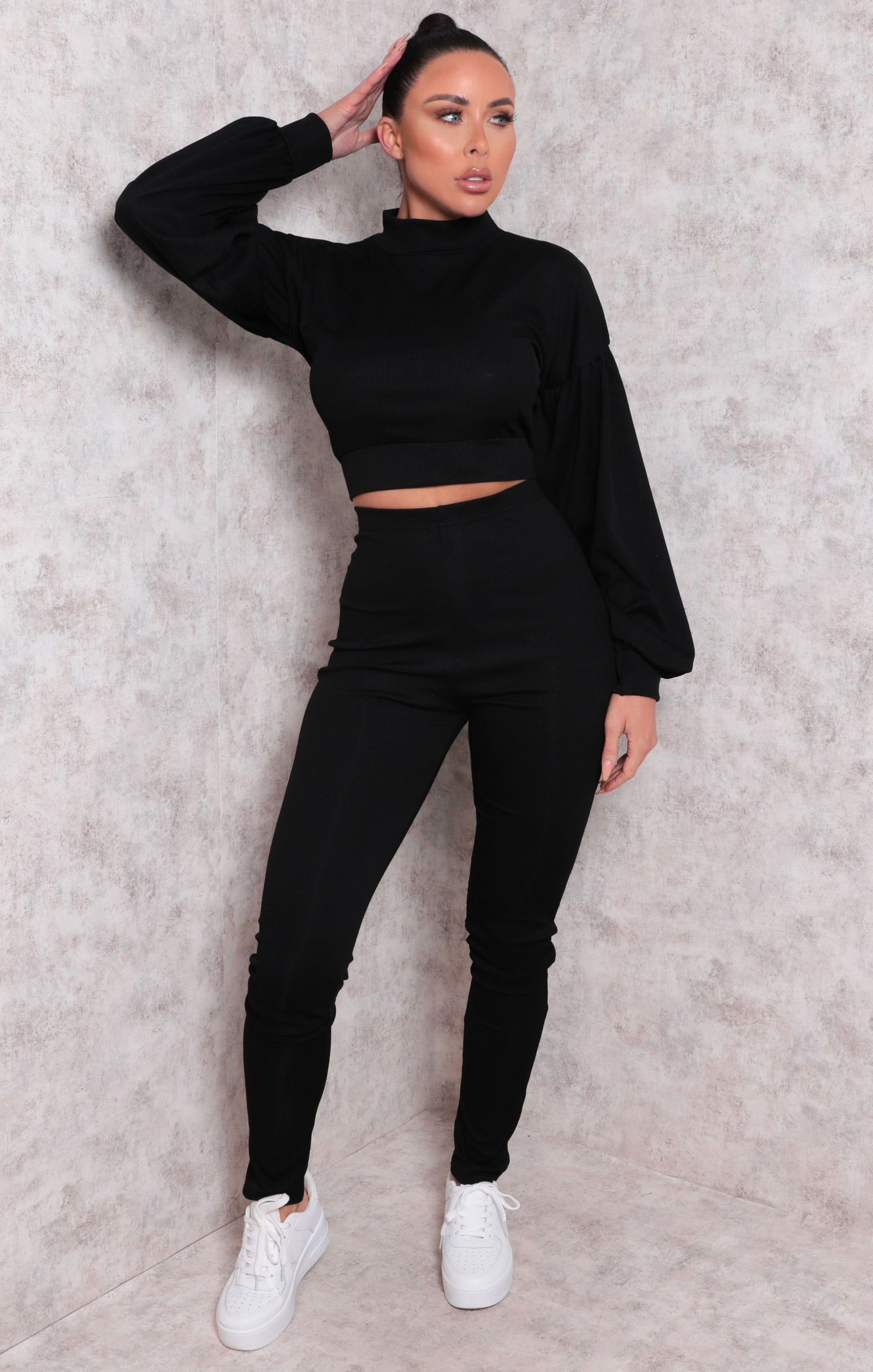 Black Ribbed Crop Top Straight Leg Loungewear Set - Aniston