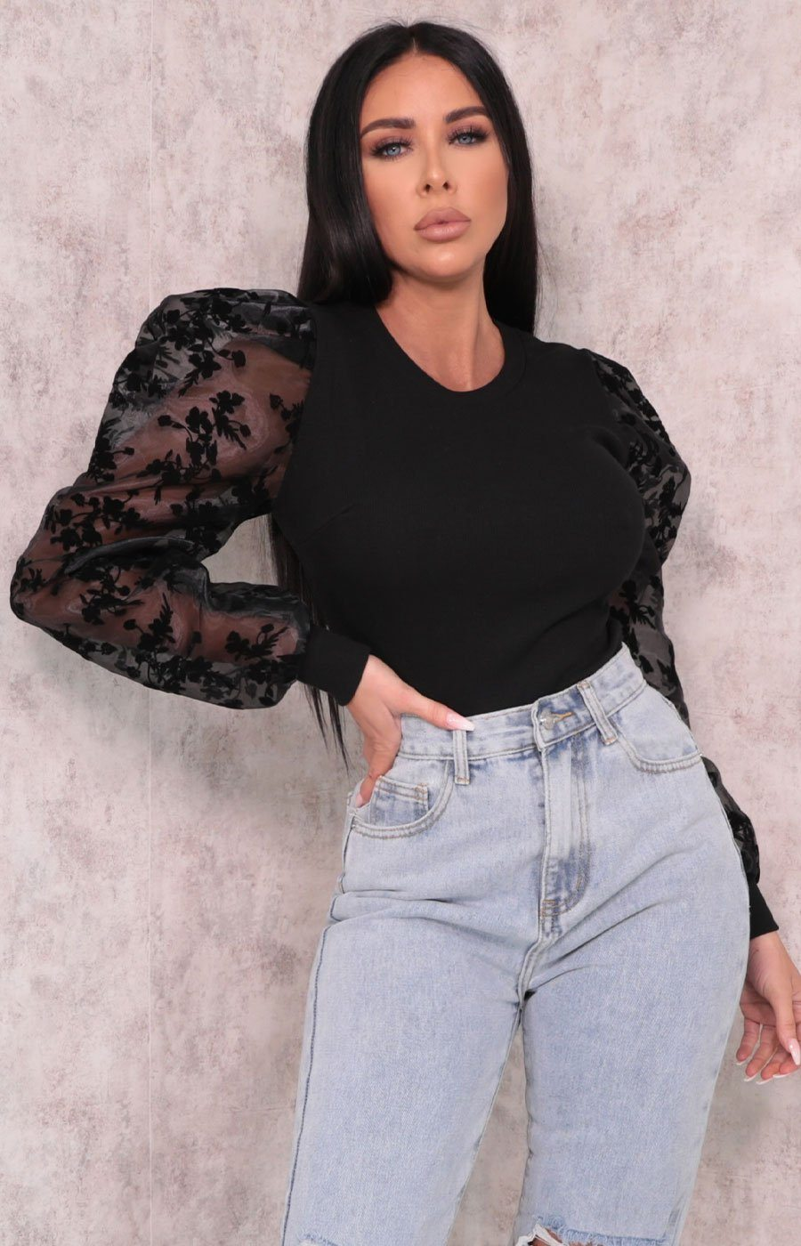 Black Ribbed Floral Organza Puff Sleeve Top - Flora
